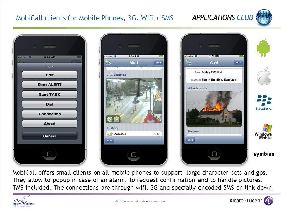 MobiCall clients for Mobile Phones, 3G, Wifi + SMS