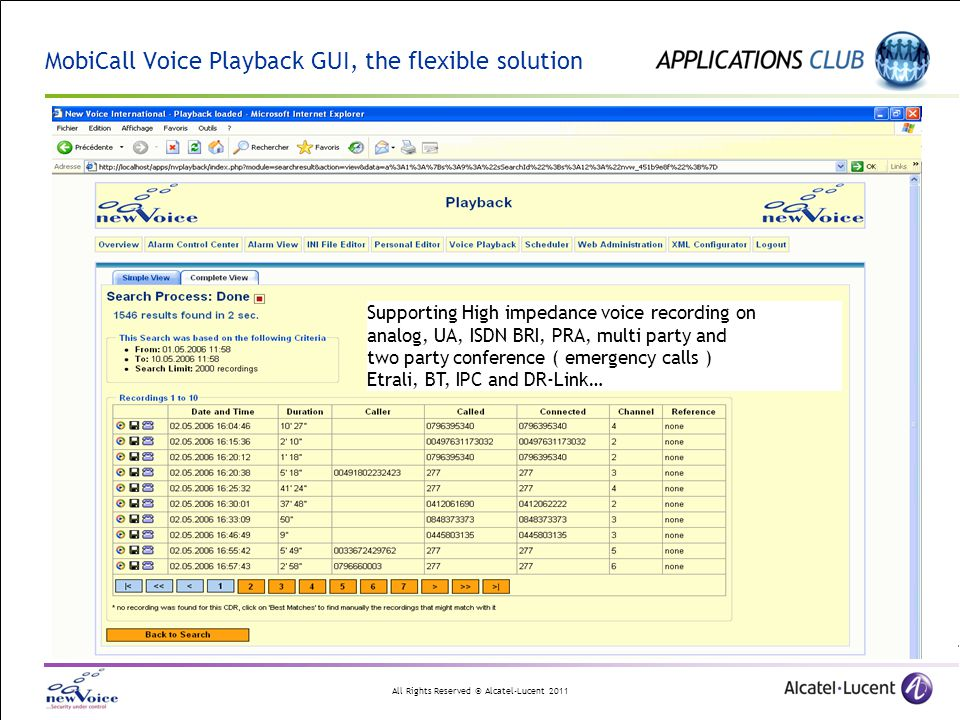 MobiCall Voice Playback GUI, the flexible solution