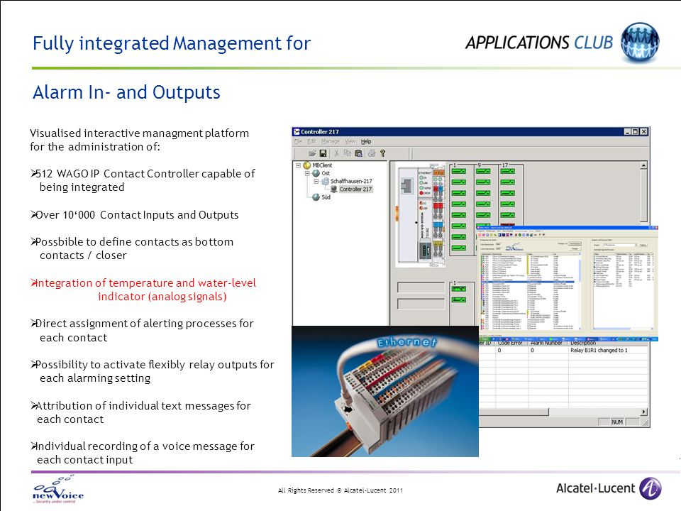 Fully integrated Management for Alarm In- and Outputs