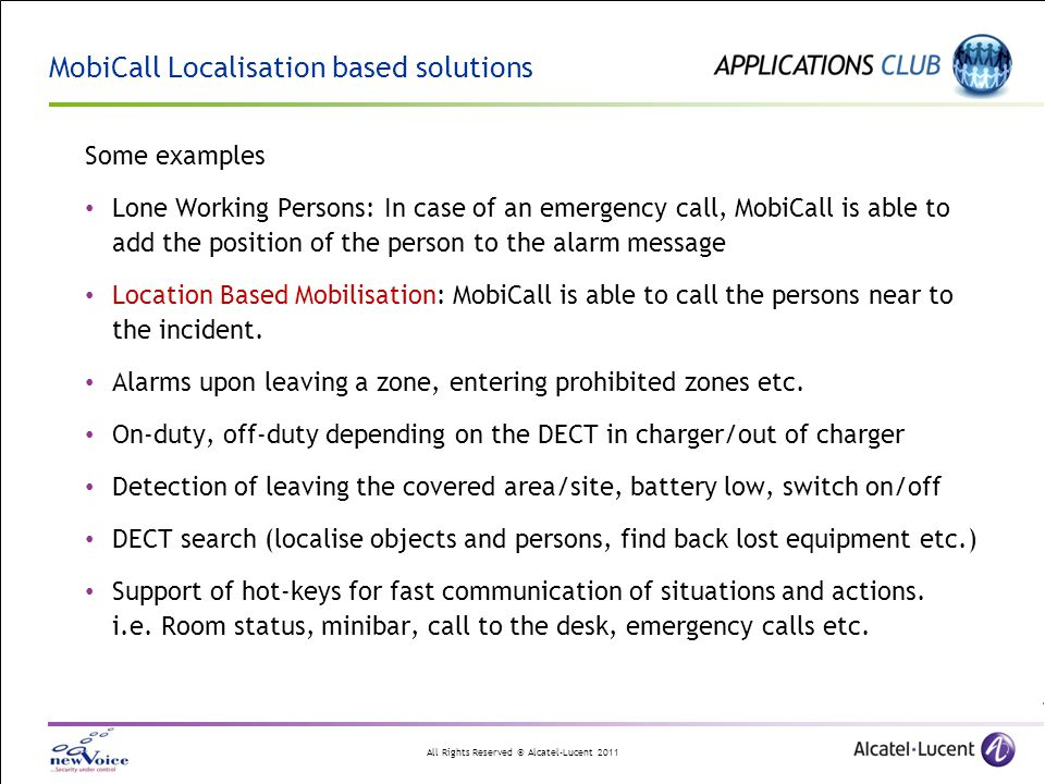 MobiCall Localisation based solutions