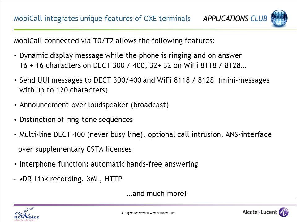 MobiCall integrates unique features of OXE terminals