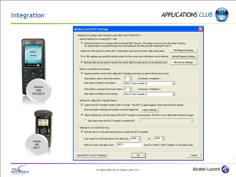 Integration Mobile 500 PTI-DECT 400 DECT