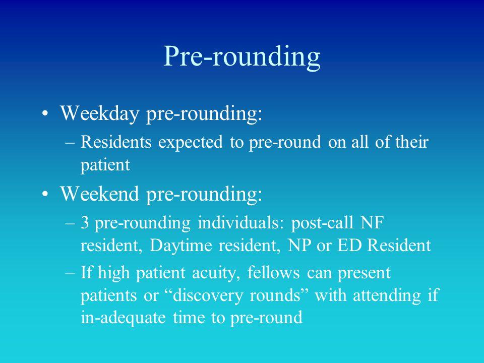 Pre-rounding Weekday pre-rounding: Weekend pre-rounding: