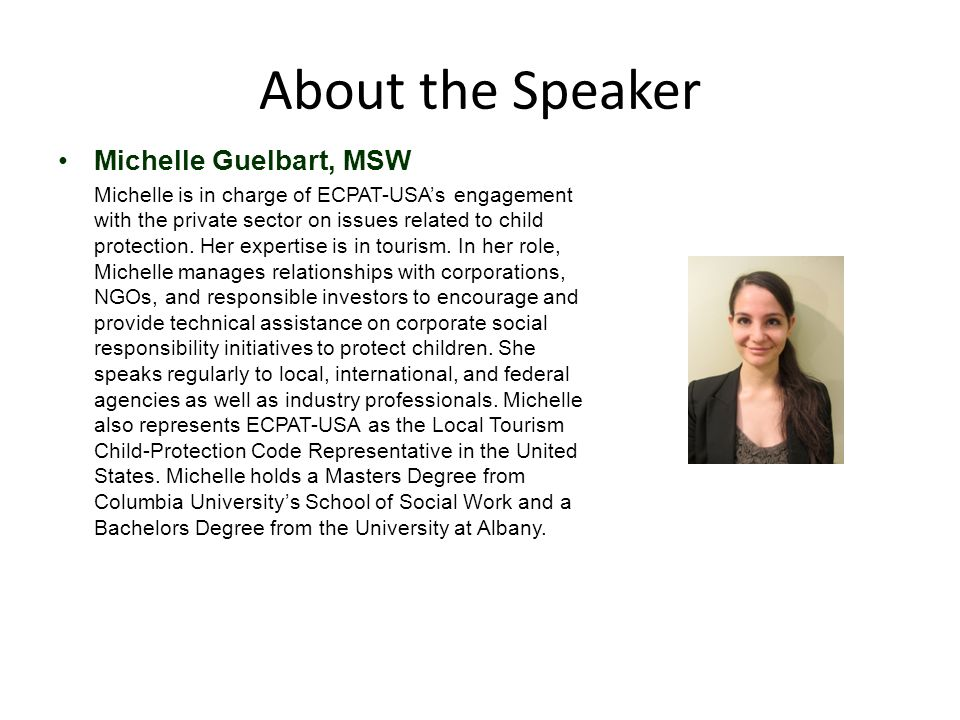 About the Speaker Michelle Guelbart, MSW