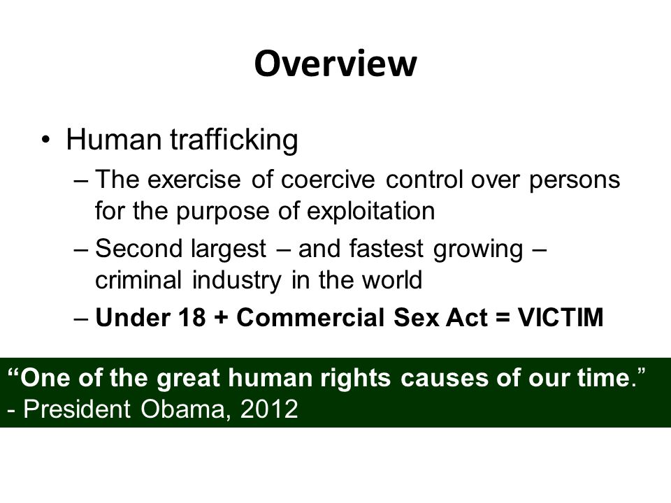 Overview Human trafficking