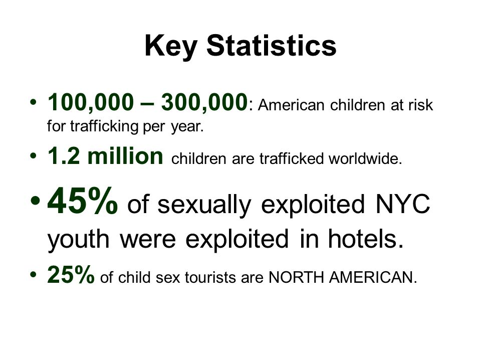 45% of sexually exploited NYC youth were exploited in hotels.