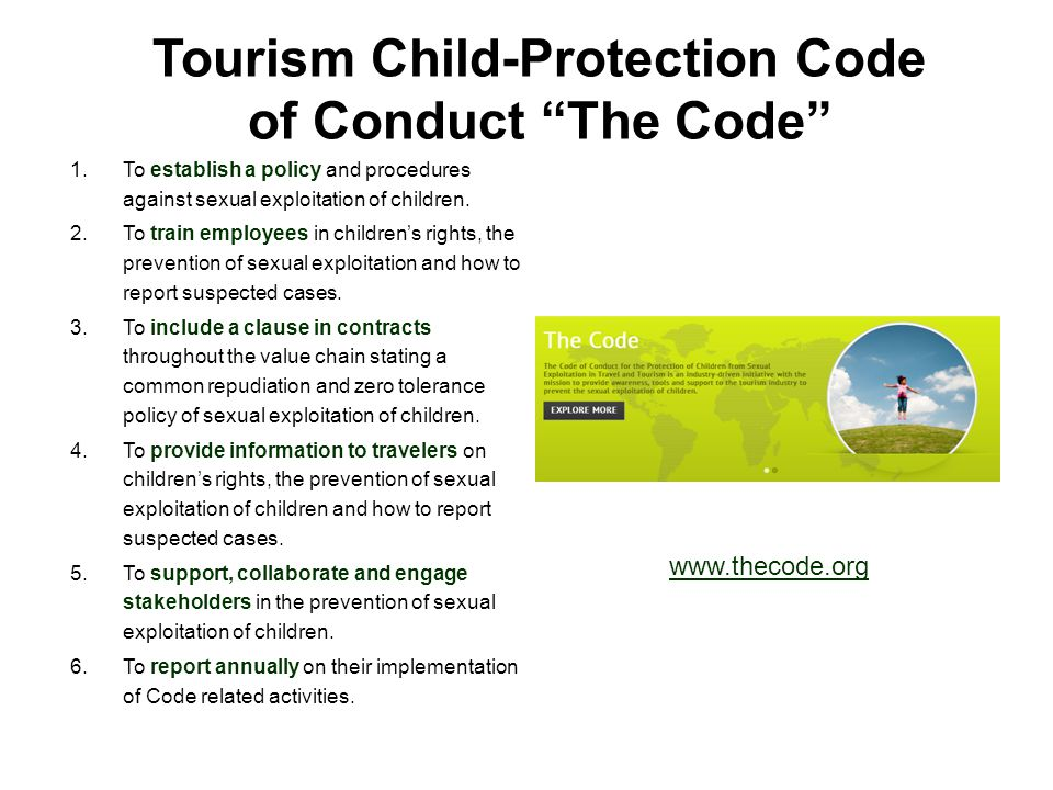 Tourism Child-Protection Code of Conduct The Code