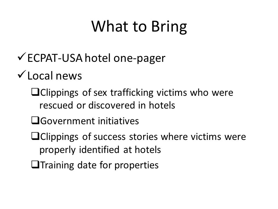What to Bring ECPAT-USA hotel one-pager Local news