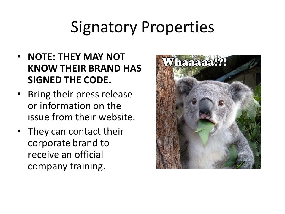 Signatory Properties NOTE: THEY MAY NOT KNOW THEIR BRAND HAS SIGNED THE CODE.