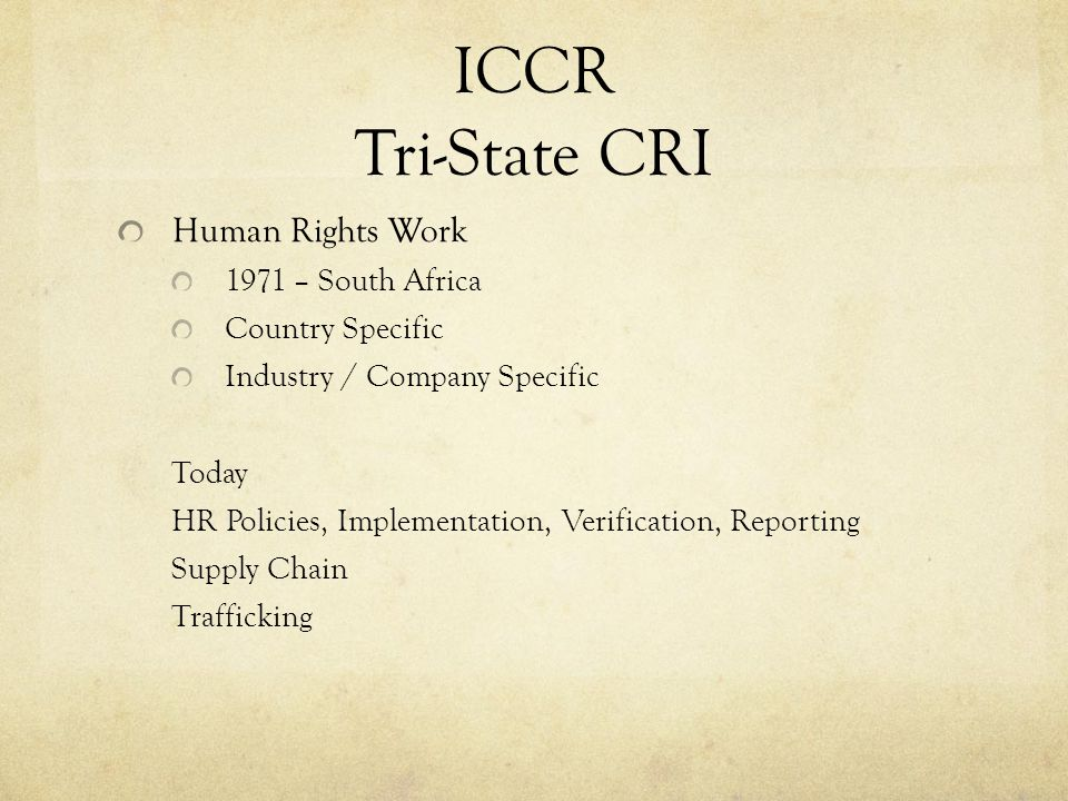 ICCR Tri-State CRI Human Rights Work 1971 – South Africa