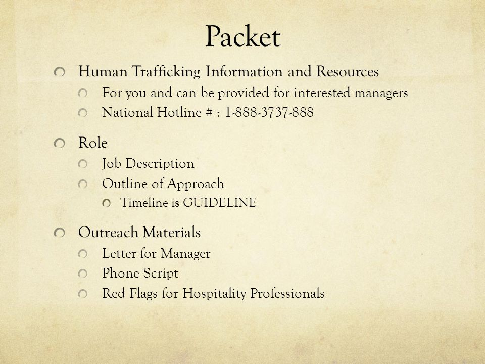 Packet Human Trafficking Information and Resources Role