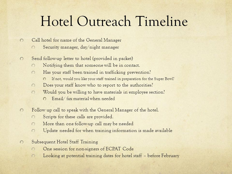 Hotel Outreach Timeline
