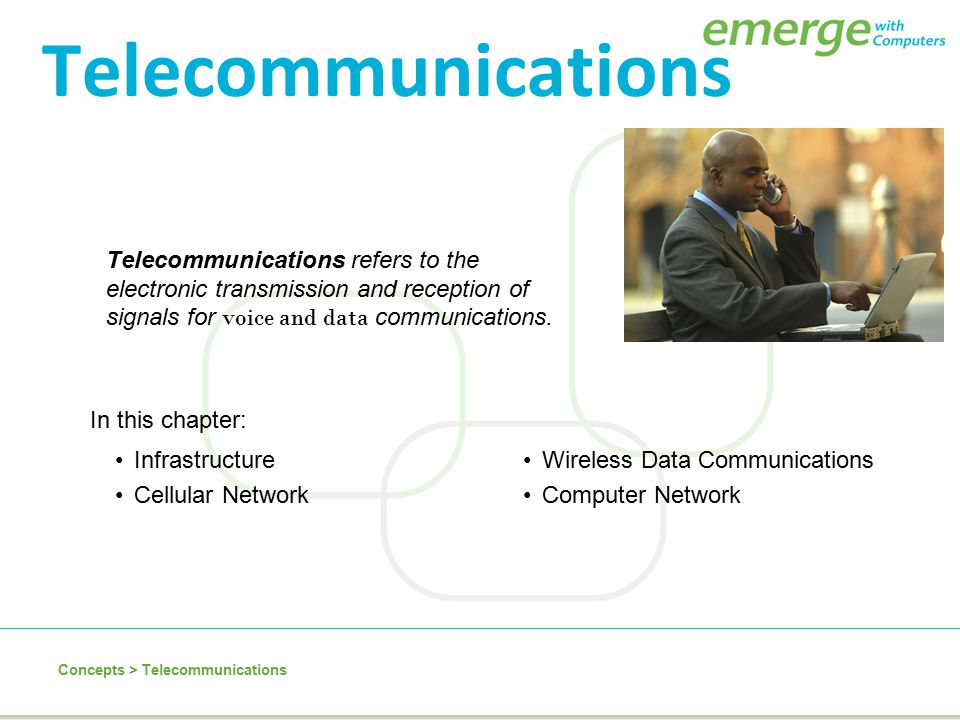 Telecommunications Telecommunications refers to the electronic transmission and reception of signals for voice and data communications.