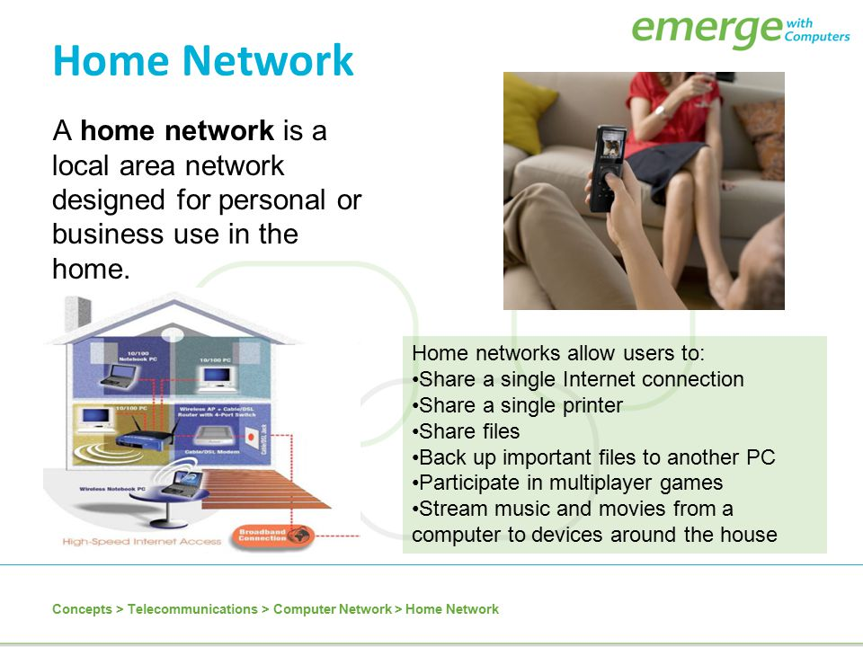 Home Network A home network is a local area network designed for personal or business use in the home.