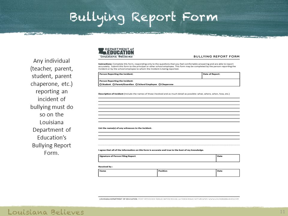 Bullying Report Form Louisiana Believes