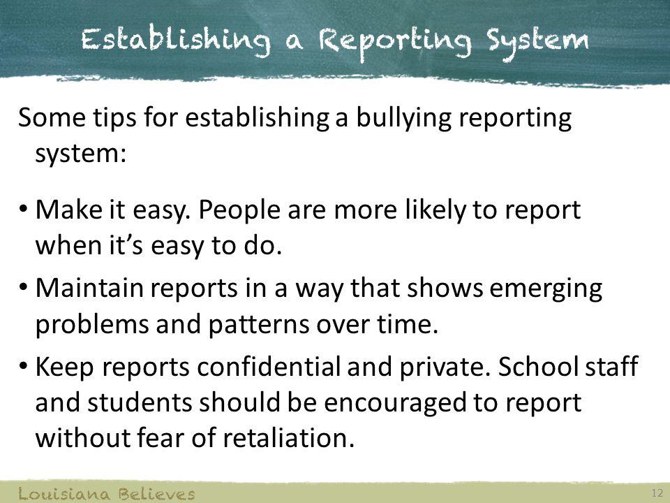 Establishing a Reporting System