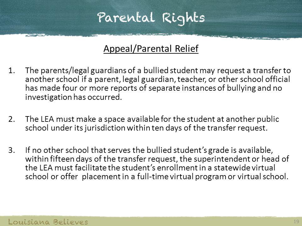 Appeal/Parental Relief