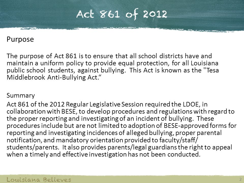 Act 861 of 2012 Purpose.