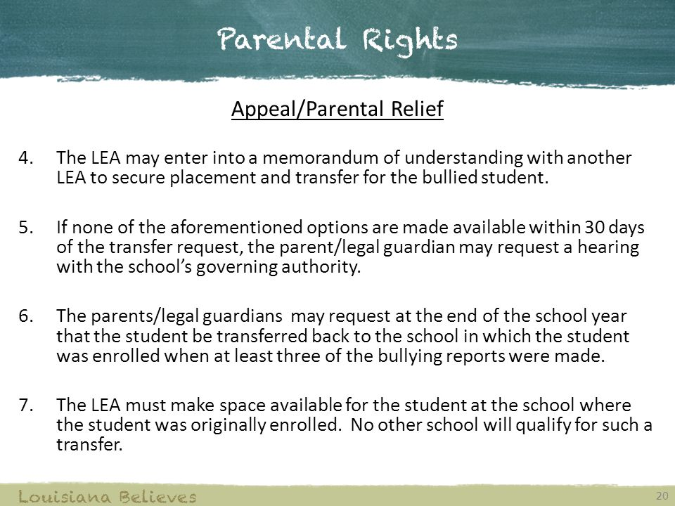 Appeal/Parental Relief