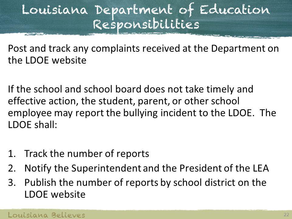 Louisiana Department of Education Responsibilities