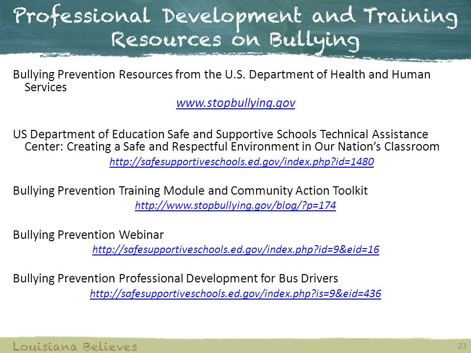 Professional Development and Training Resources on Bullying