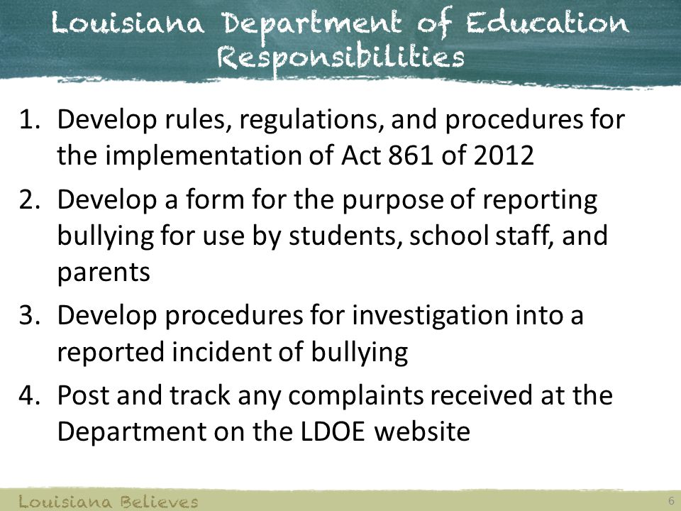 Louisiana Department of Education Responsibilities