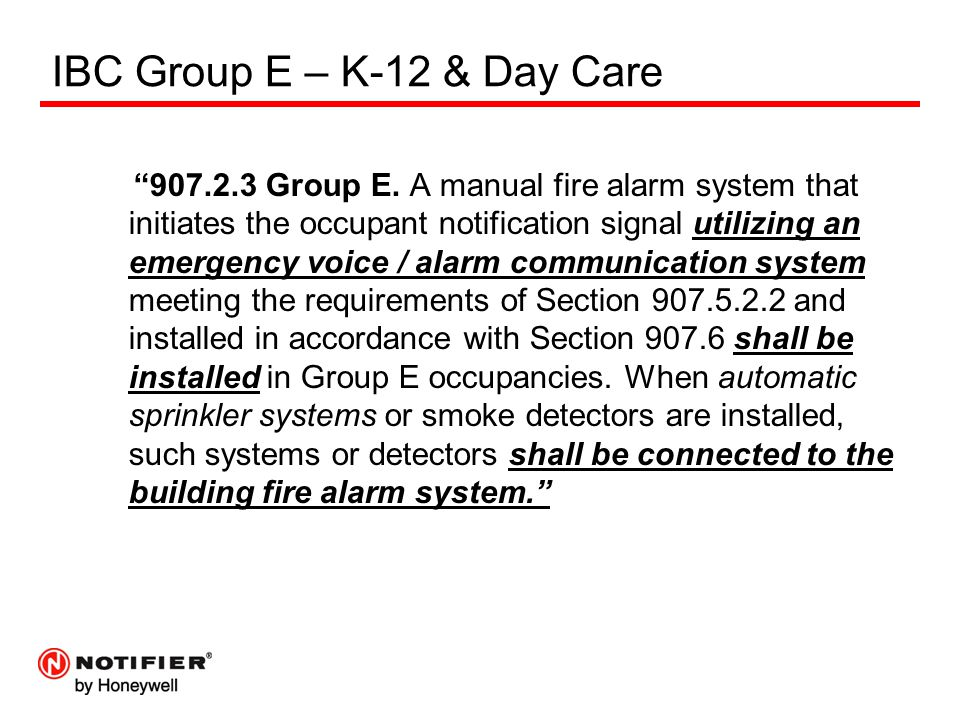 IBC Group E – K-12 & Day Care