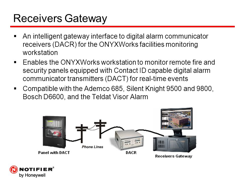 Receivers Gateway An intelligent gateway interface to digital alarm communicator receivers (DACR) for the ONYXWorks facilities monitoring workstation.