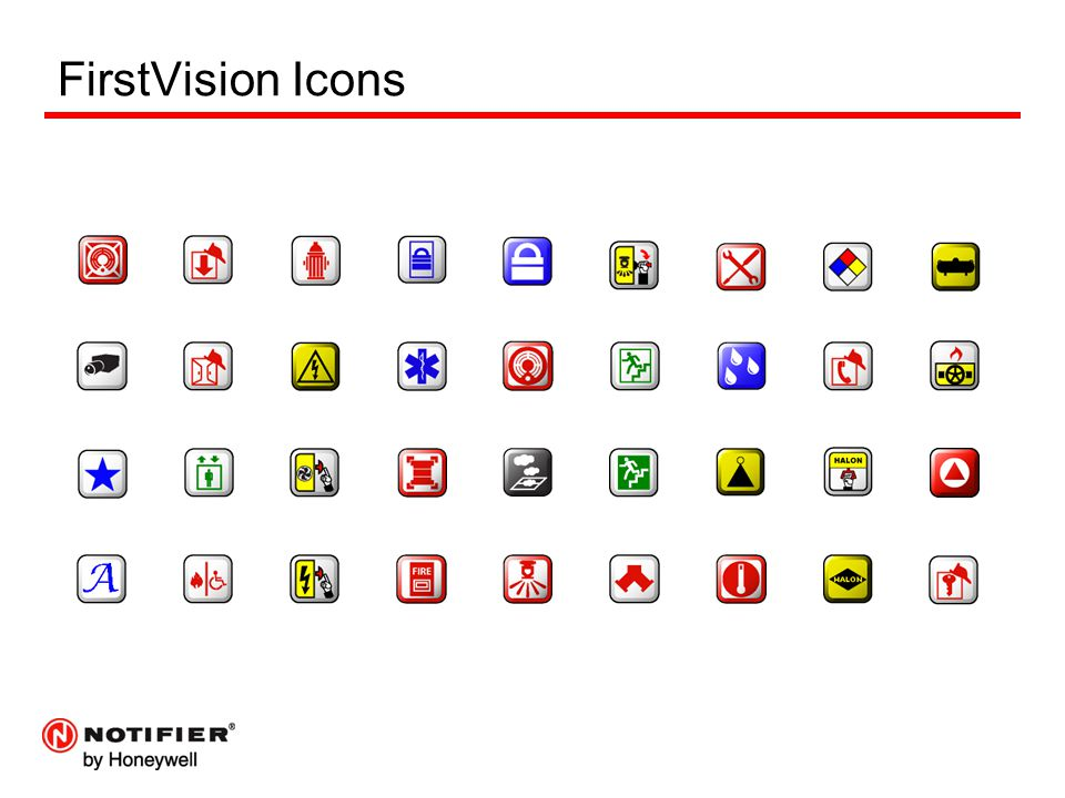 FirstVision Icons FV comes with a library of icons that can be used, custom icons can be created and imported as well.
