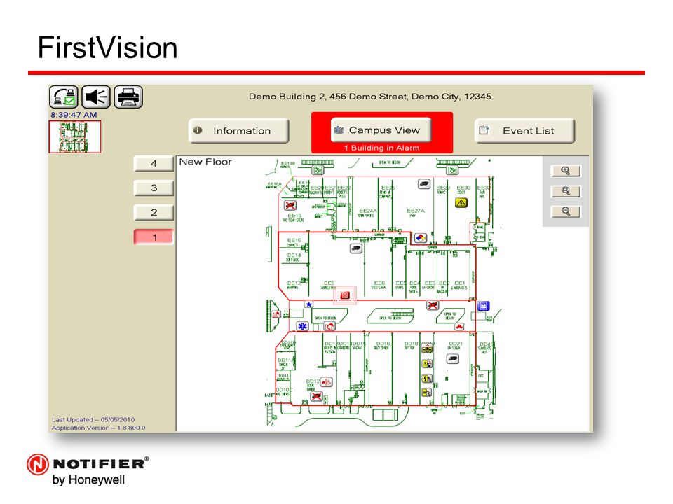 FirstVision FV will zoom to the first event showing the floor and location.