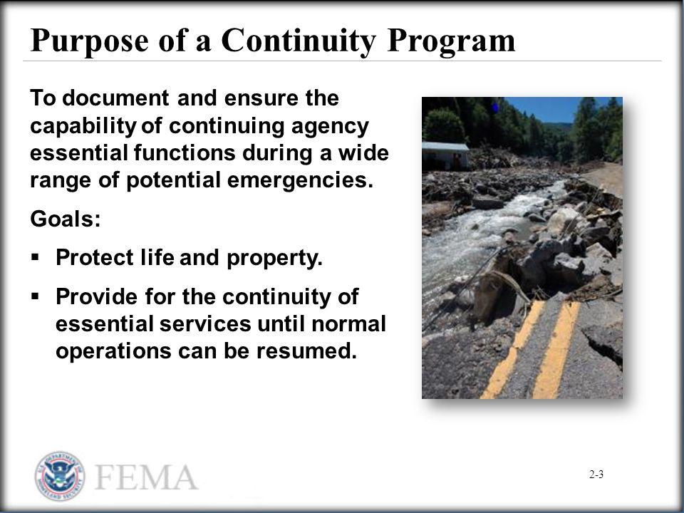 Purpose of a Continuity Program