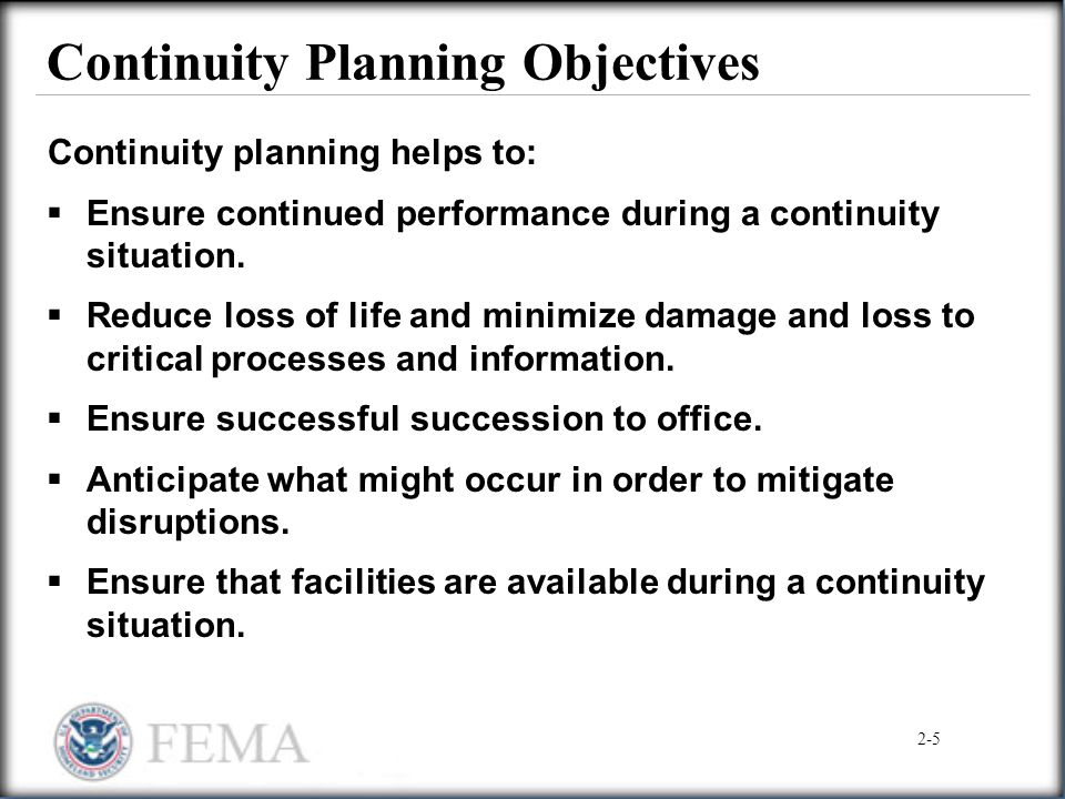 Continuity Planning Objectives