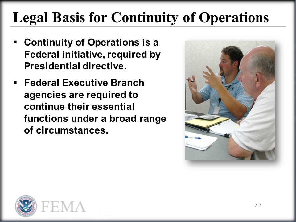 Legal Basis for Continuity of Operations