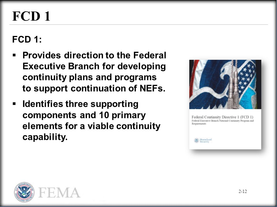 FCD 1 FCD 1: Provides direction to the Federal Executive Branch for developing continuity plans and programs to support continuation of NEFs.