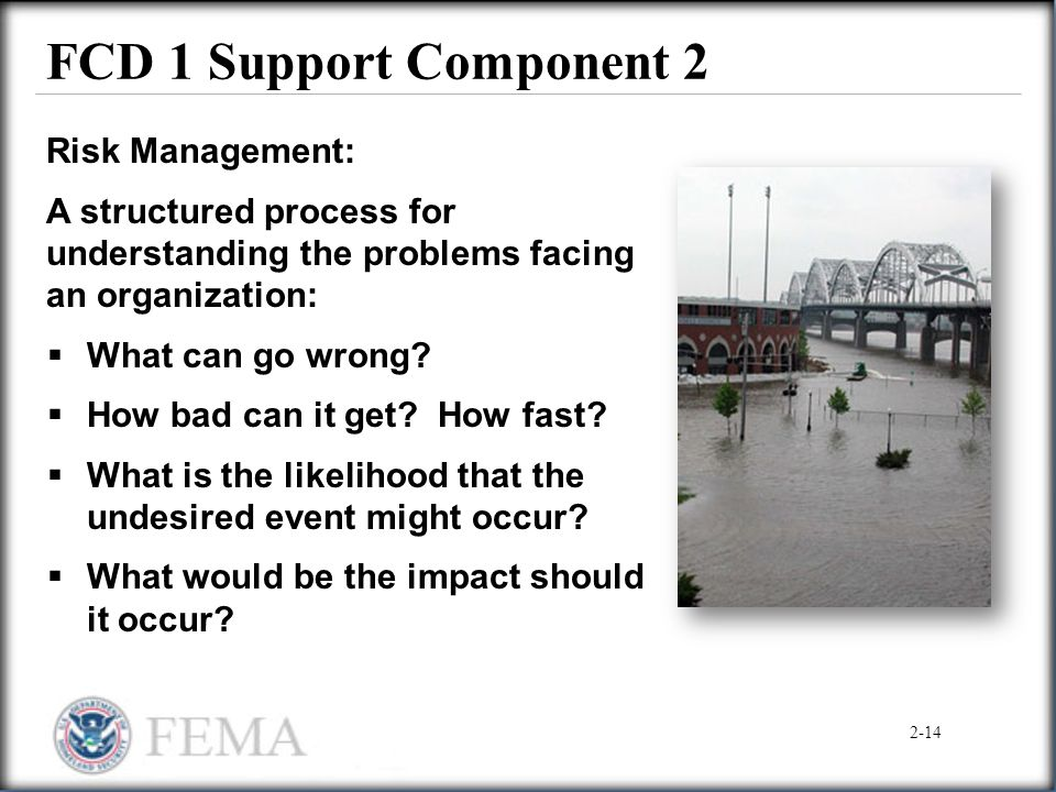 FCD 1 Support Component 2 Risk Management: