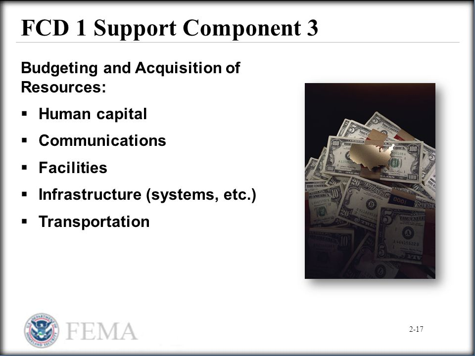 FCD 1 Support Component 3 Budgeting and Acquisition of Resources: