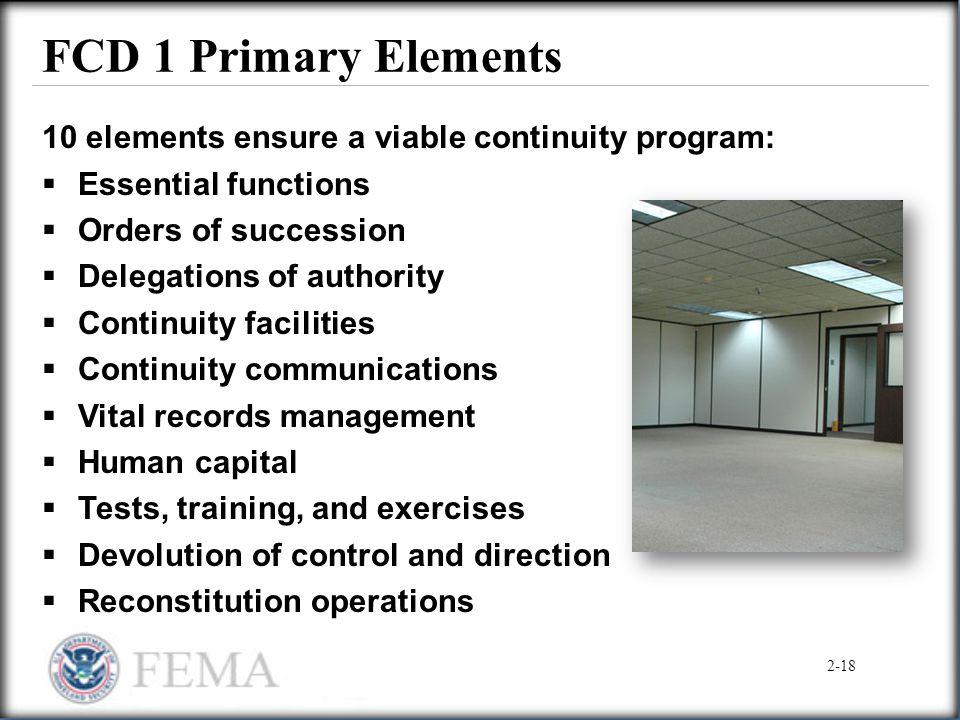 FCD 1 Primary Elements 10 elements ensure a viable continuity program: