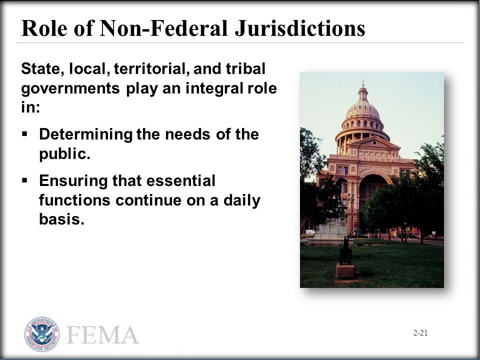 Role of Non-Federal Jurisdictions