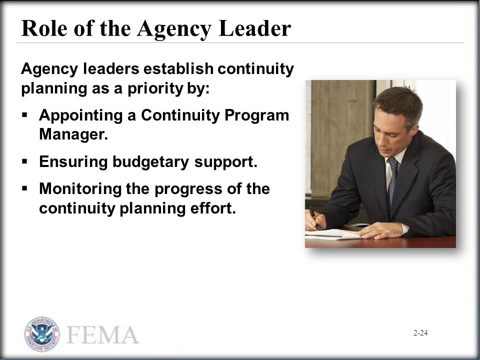Role of the Agency Leader