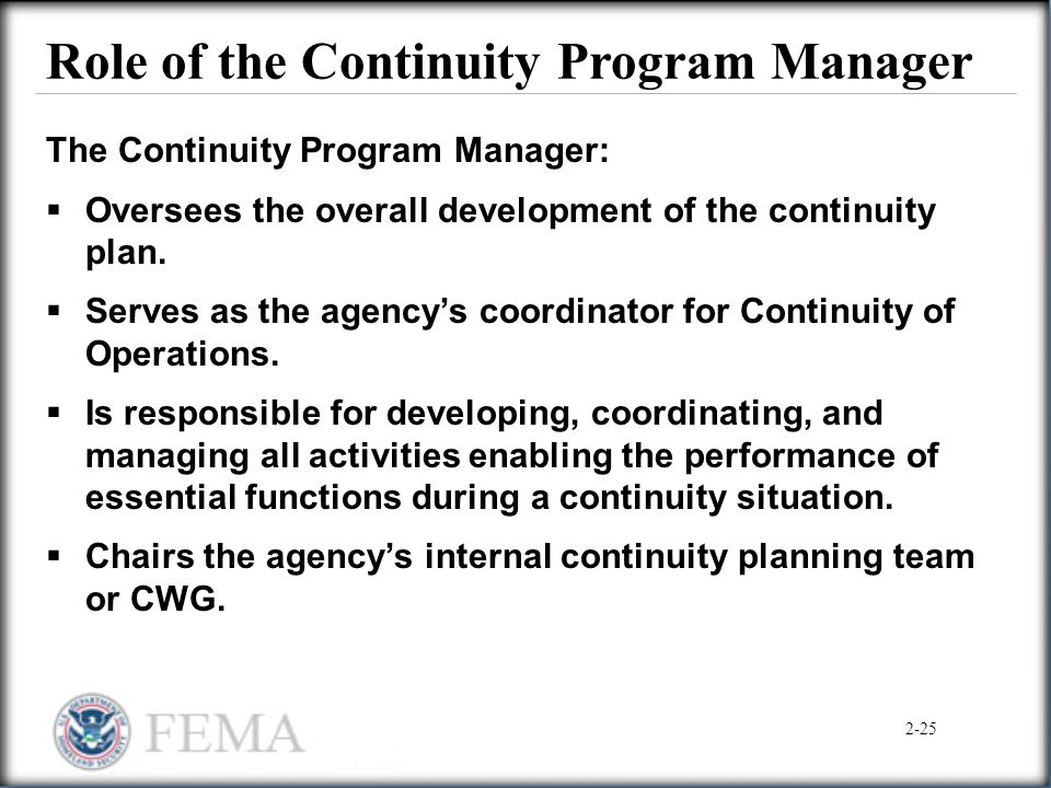 Role of the Continuity Program Manager