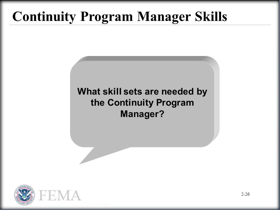 Continuity Program Manager Skills