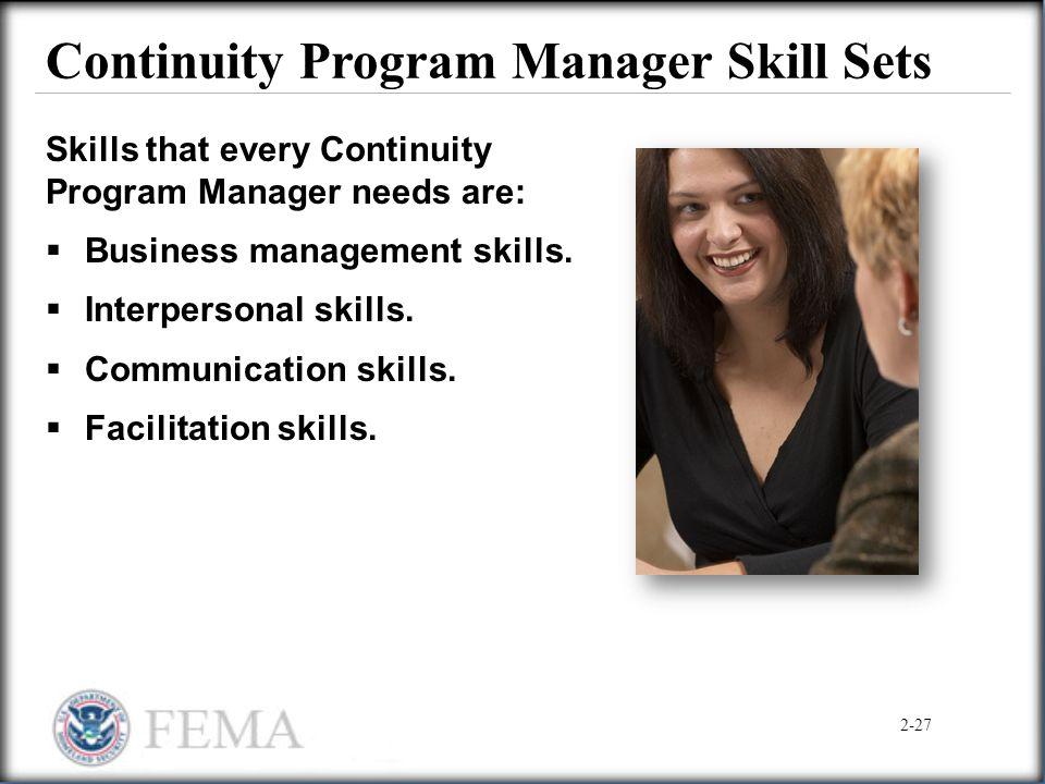 Continuity Program Manager Skill Sets