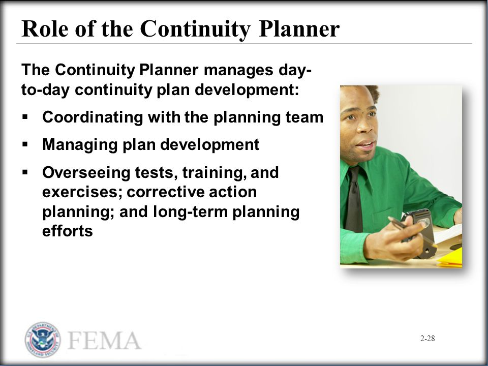Role of the Continuity Planner