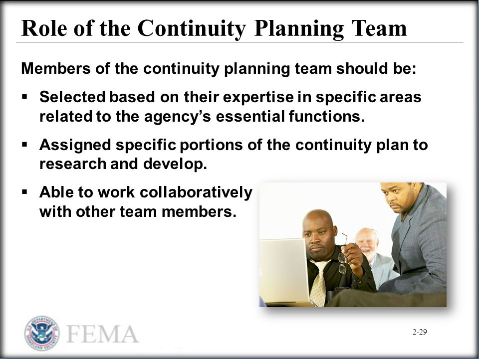 Role of the Continuity Planning Team