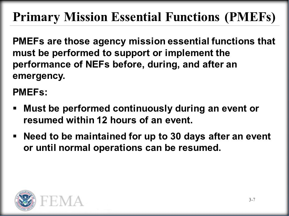 Primary Mission Essential Functions (PMEFs)