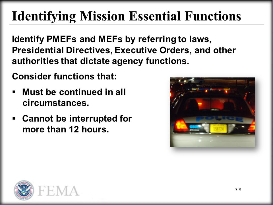Identifying Mission Essential Functions