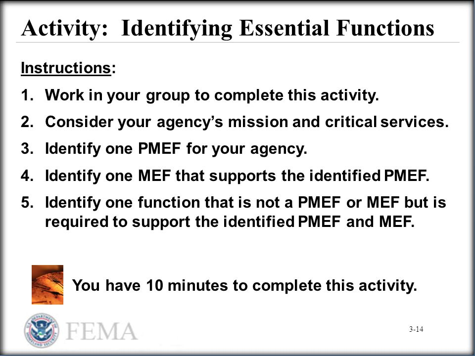 Activity: Identifying Essential Functions