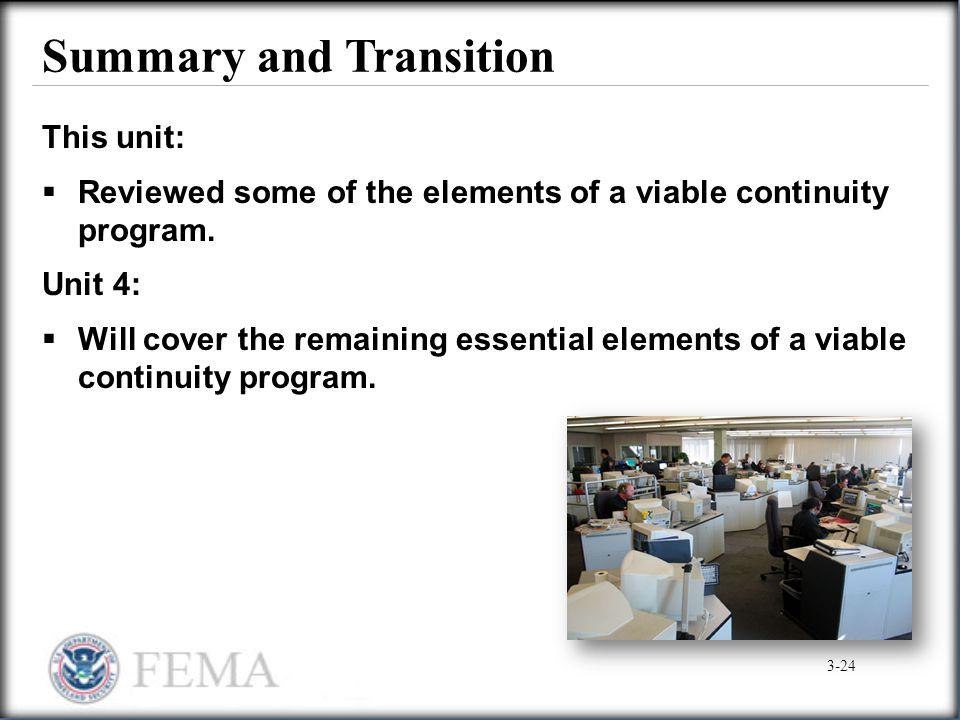 Summary and Transition