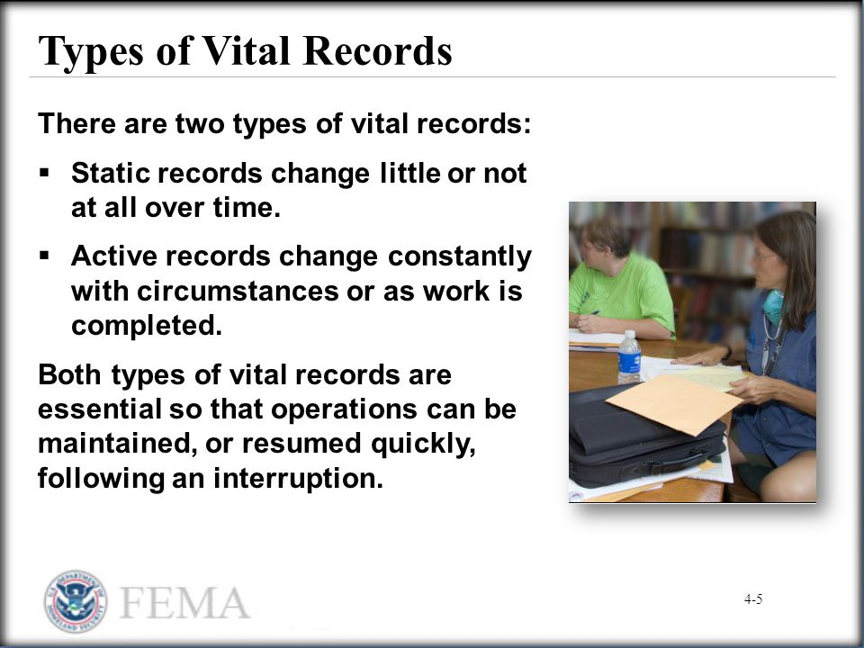 Types of Vital Records There are two types of vital records:
