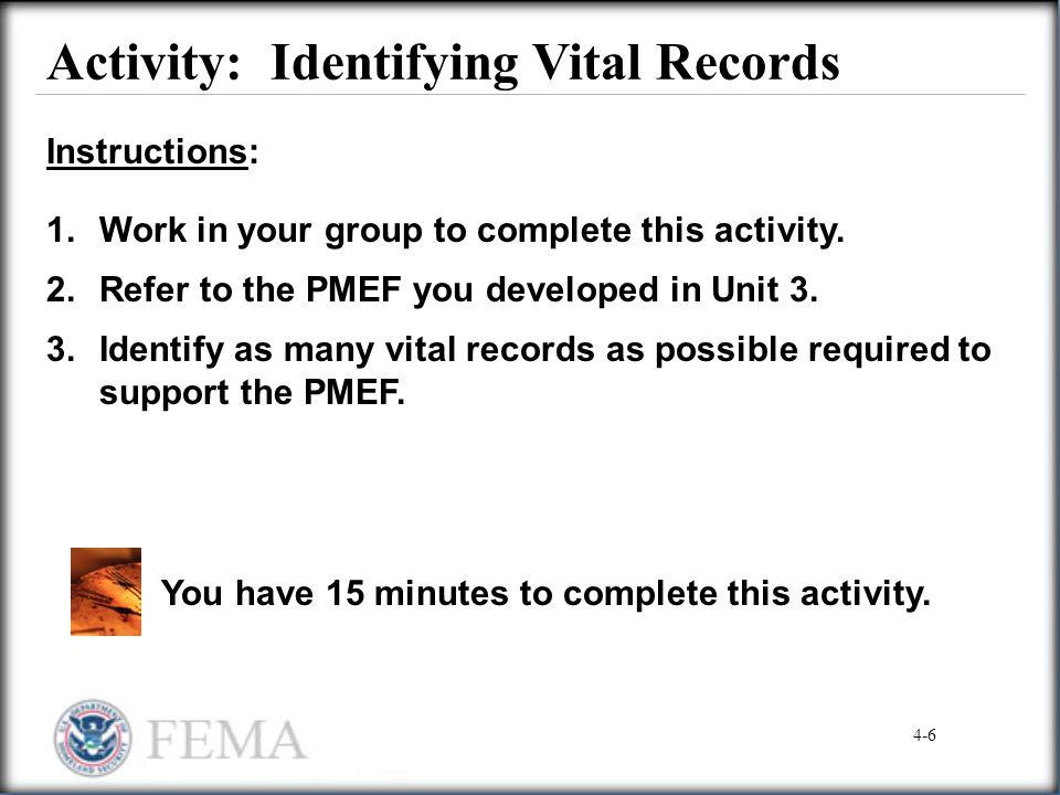 Activity: Identifying Vital Records